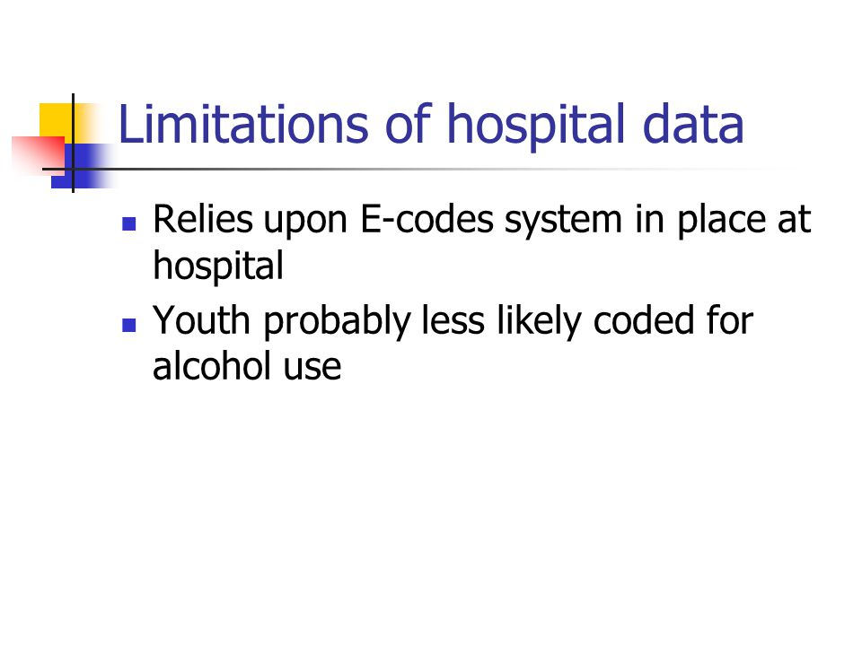 Limitations of hospital data Relies upon E-codes system in place at hospital Youth probably less likely coded for alcohol use