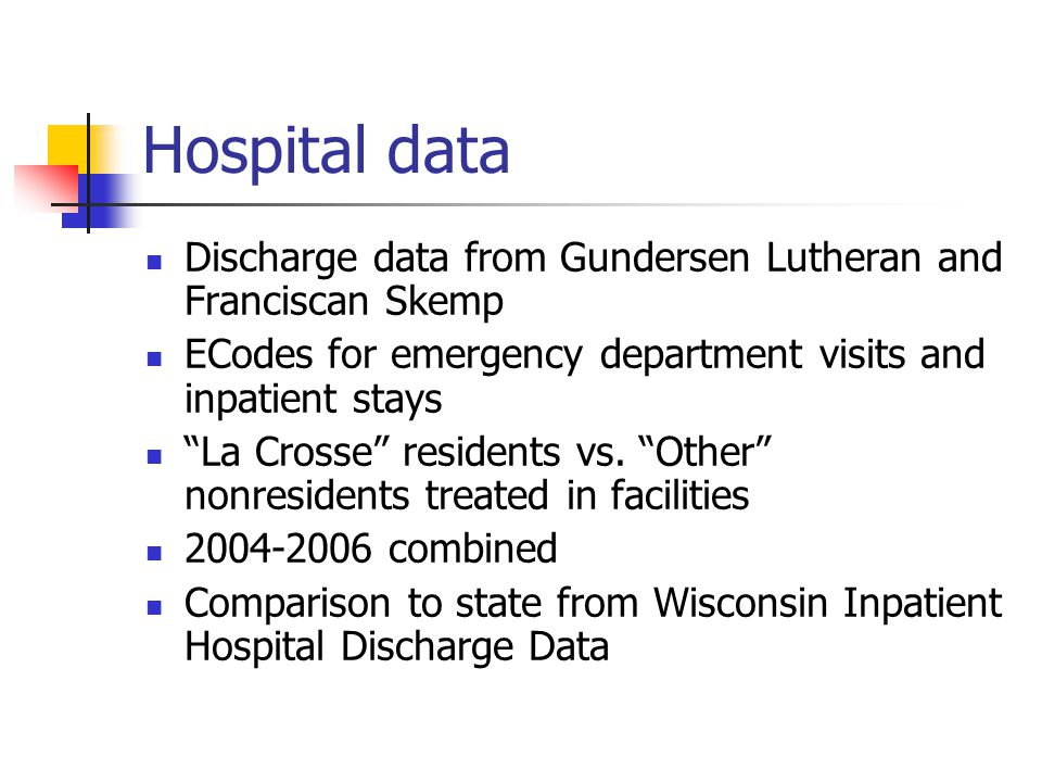 Hospital data Discharge data from Gundersen Lutheran and Franciscan Skemp ECodes for emergency department visits and inpatient stays La Crosse residents vs.