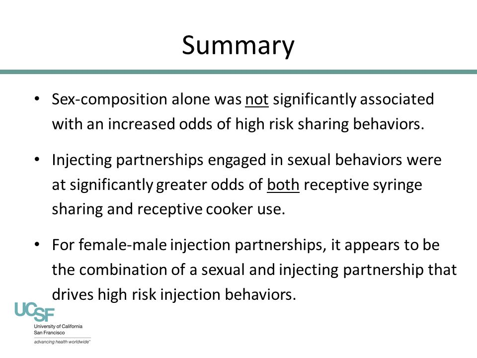 Summary Sex-composition alone was not significantly associated with an increased odds of high risk sharing behaviors.