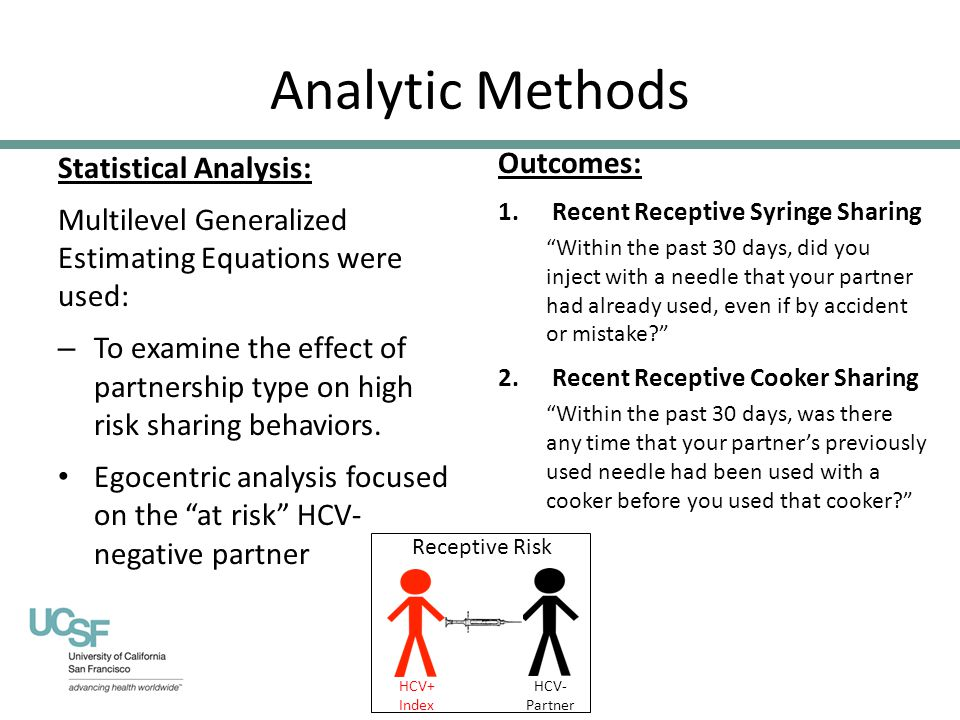 Analytic Methods Statistical Analysis: Multilevel Generalized Estimating Equations were used: – To examine the effect of partnership type on high risk sharing behaviors.