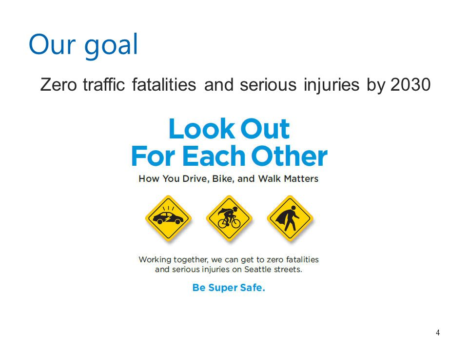 Our goal Zero traffic fatalities and serious injuries by
