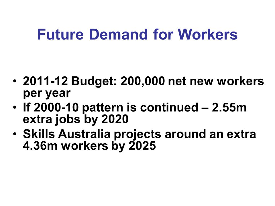 Future Demand for Workers Budget: 200,000 net new workers per year If pattern is continued – 2.55m extra jobs by 2020 Skills Australia projects around an extra 4.36m workers by 2025