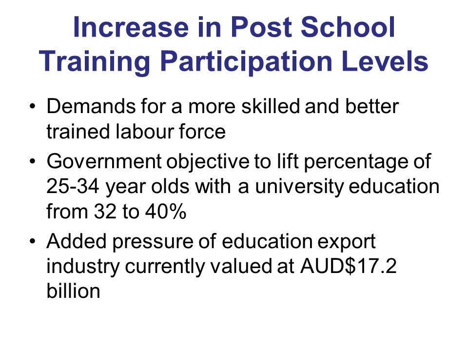 Increase in Post School Training Participation Levels Demands for a more skilled and better trained labour force Government objective to lift percentage of year olds with a university education from 32 to 40% Added pressure of education export industry currently valued at AUD$17.2 billion