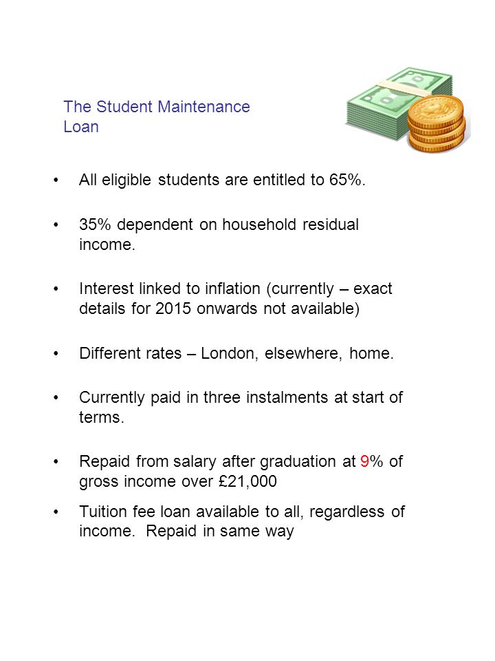 The Student Maintenance Loan All eligible students are entitled to 65%.