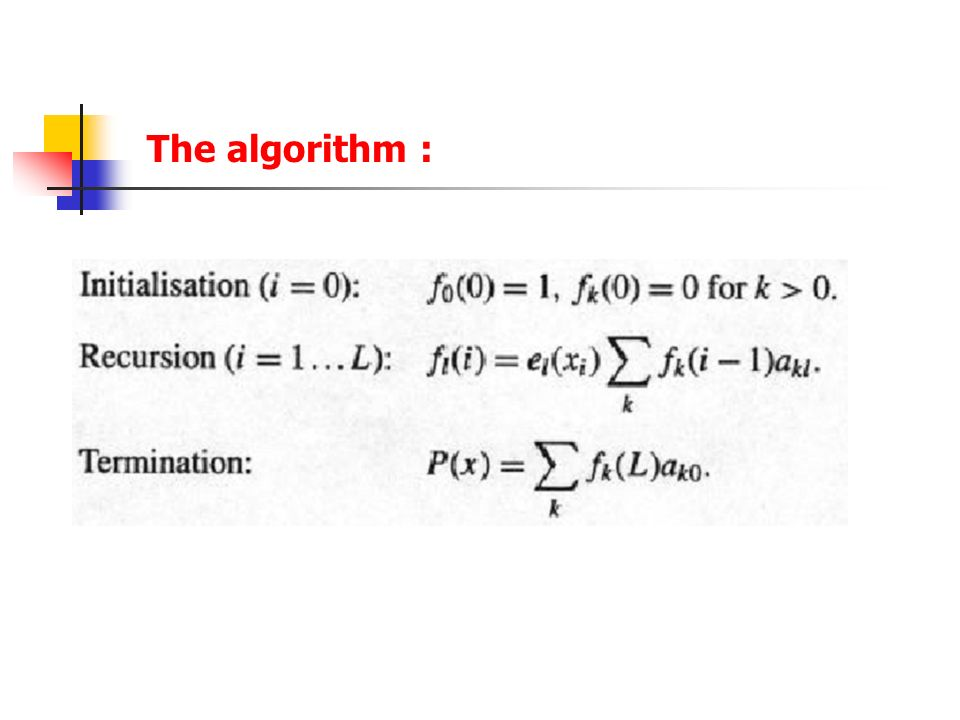The algorithm :