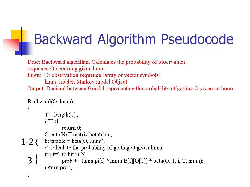 Backward Algorithm Pseudocode 3 1-2