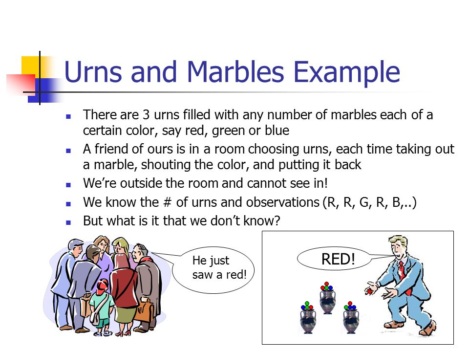 Urns and Marbles Example There are 3 urns filled with any number of marbles each of a certain color, say red, green or blue A friend of ours is in a room choosing urns, each time taking out a marble, shouting the color, and putting it back We're outside the room and cannot see in.