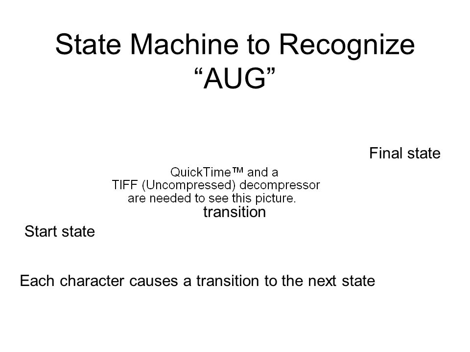 State Machine to Recognize AUG transition Start state Final state Each character causes a transition to the next state