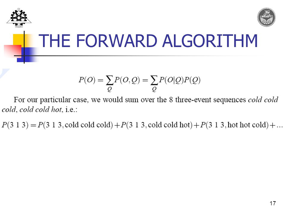17 THE FORWARD ALGORITHM