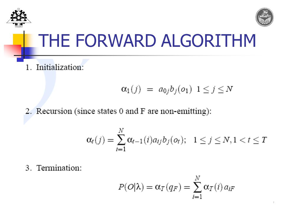 20 THE FORWARD ALGORITHM