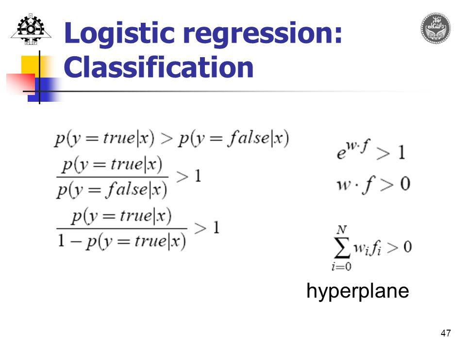 47 Logistic regression: Classification hyperplane