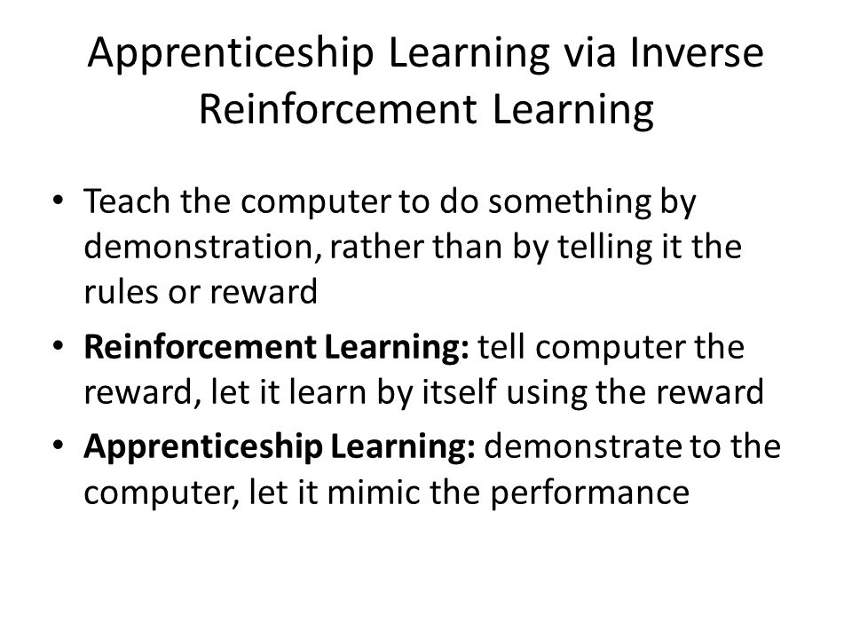 Reinforcement Learning & Apprenticeship Learning Chenyi Chen  - ppt