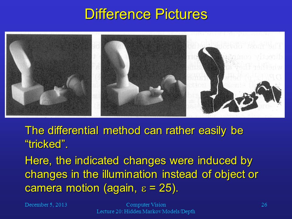December 5, 2013Computer Vision Lecture 20: Hidden Markov Models/Depth 26 Difference Pictures The differential method can rather easily be tricked .