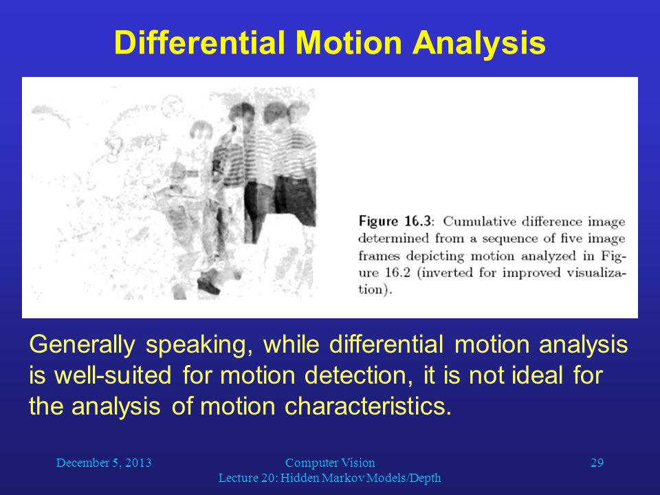 December 5, 2013Computer Vision Lecture 20: Hidden Markov Models/Depth 29 Differential Motion Analysis Generally speaking, while differential motion analysis is well-suited for motion detection, it is not ideal for the analysis of motion characteristics.