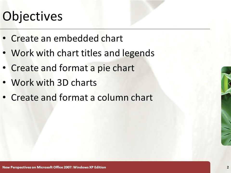 XP New Perspectives on Microsoft Office 2007: Windows XP Edition2 Objectives Create an embedded chart Work with chart titles and legends Create and format a pie chart Work with 3D charts Create and format a column chart