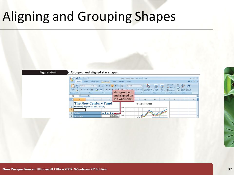 XP New Perspectives on Microsoft Office 2007: Windows XP Edition37 Aligning and Grouping Shapes