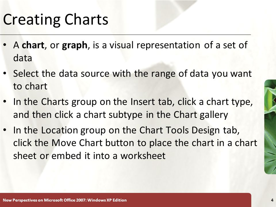 XP New Perspectives on Microsoft Office 2007: Windows XP Edition4 Creating Charts A chart, or graph, is a visual representation of a set of data Select the data source with the range of data you want to chart In the Charts group on the Insert tab, click a chart type, and then click a chart subtype in the Chart gallery In the Location group on the Chart Tools Design tab, click the Move Chart button to place the chart in a chart sheet or embed it into a worksheet