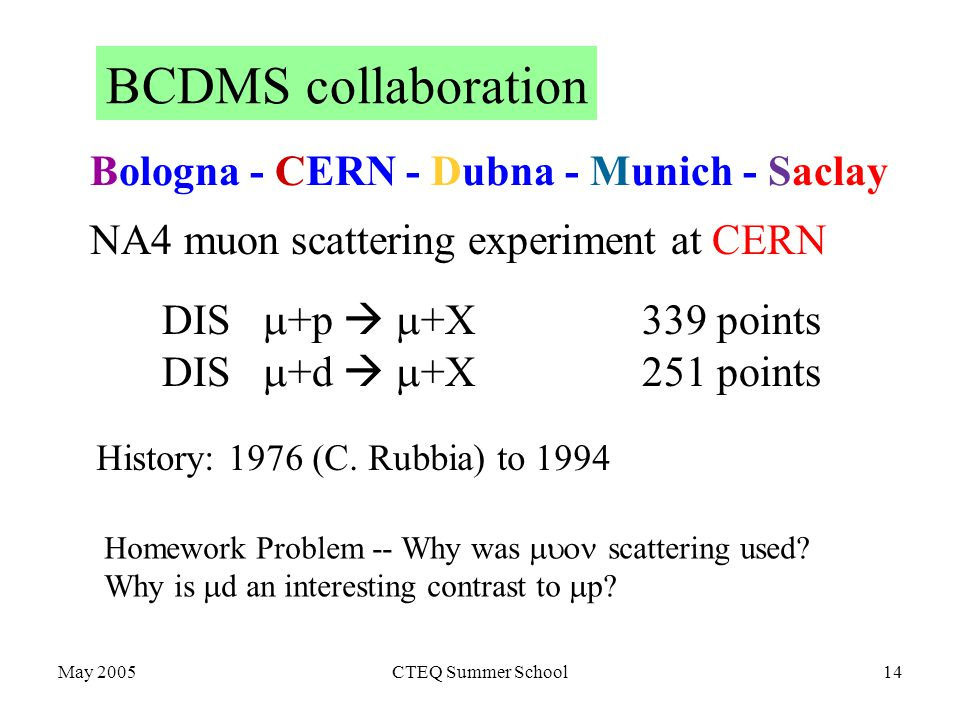 May 2005CTEQ Summer School14 BCDMS collaboration DIS  +p   +X339 points DIS  +d   +X251 points Bologna - CERN - Dubna - Munich - Saclay NA4 muon scattering experiment at CERN History: 1976 (C.