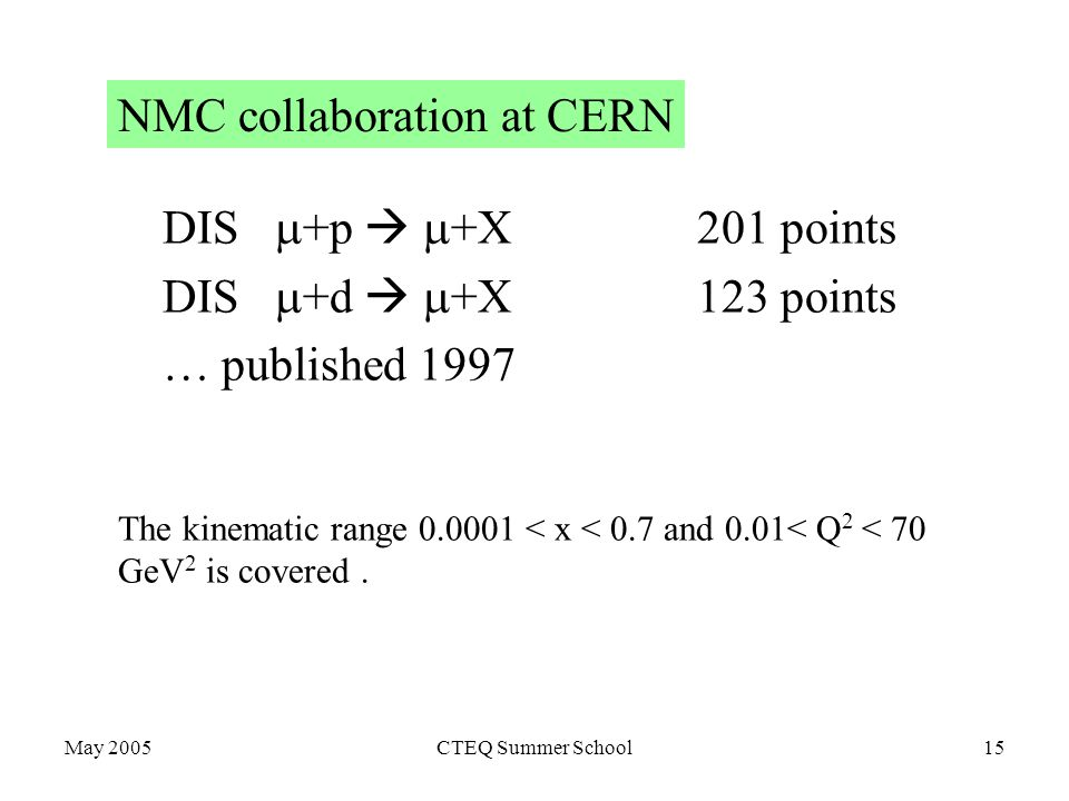 May 2005CTEQ Summer School15 NMC collaboration at CERN DIS  +p   +X201 points DIS  +d   +X123 points … published 1997 The kinematic range < x < 0.7 and 0.01< Q 2 < 70 GeV 2 is covered.