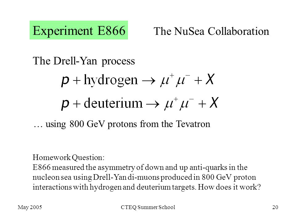 May 2005CTEQ Summer School20 The Drell-Yan process Experiment E866 Homework Question: E866 measured the asymmetry of down and up anti-quarks in the nucleon sea using Drell-Yan di-muons produced in 800 GeV proton interactions with hydrogen and deuterium targets.