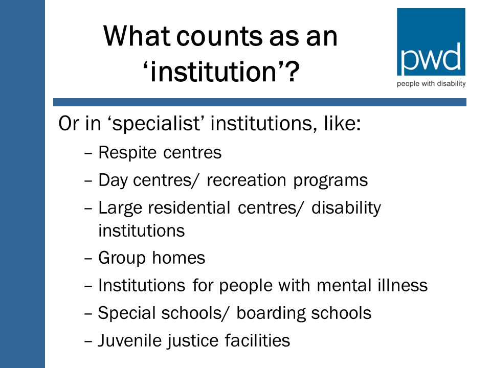 What counts as an 'institution'.