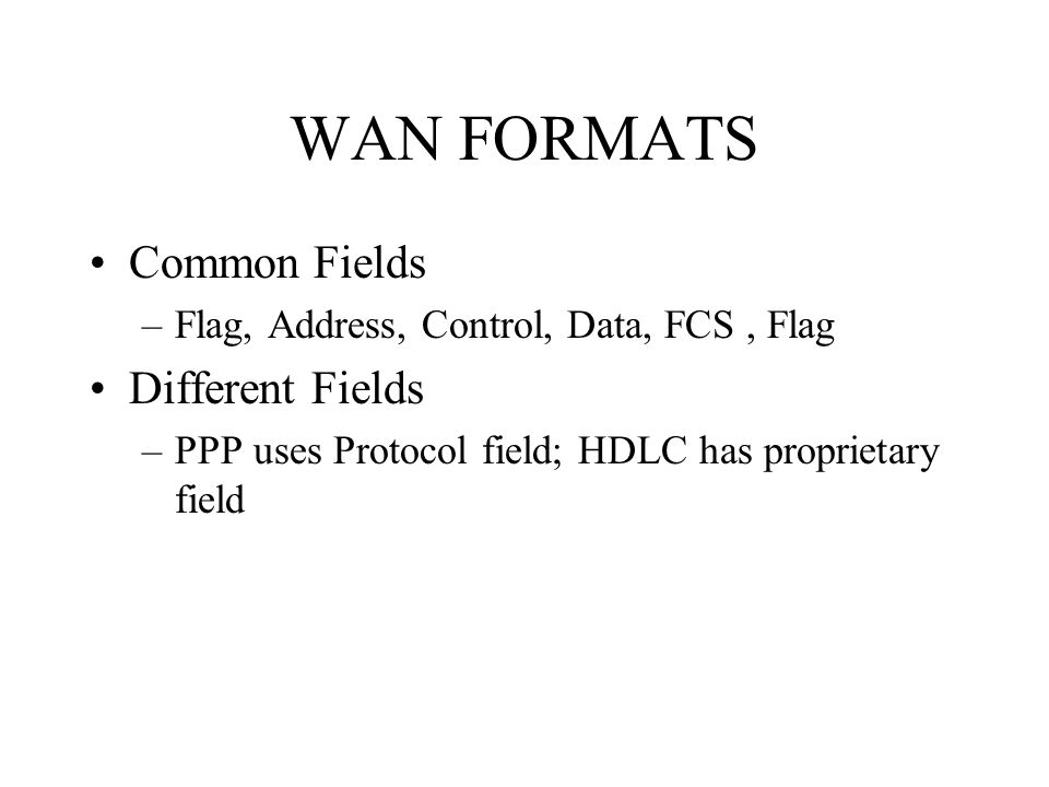 WAN FORMATS Common Fields –Flag, Address, Control, Data, FCS, Flag Different Fields –PPP uses Protocol field; HDLC has proprietary field