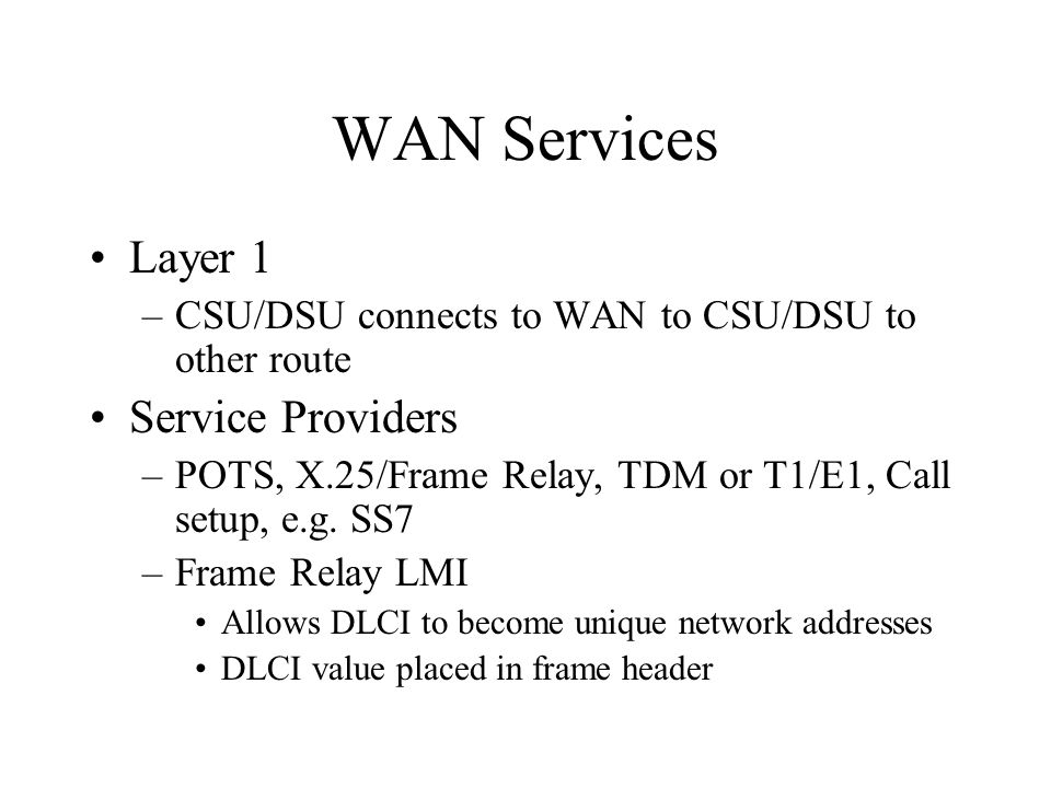 WAN Services Layer 1 –CSU/DSU connects to WAN to CSU/DSU to other route Service Providers –POTS, X.25/Frame Relay, TDM or T1/E1, Call setup, e.g.