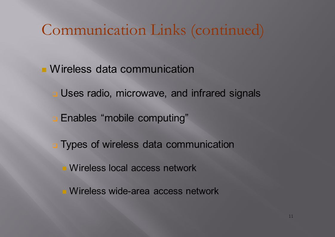 Communication Links (continued) Wireless data communication  Uses radio, microwave, and infrared signals  Enables mobile computing  Types of wireless data communication Wireless local access network Wireless wide-area access network 11