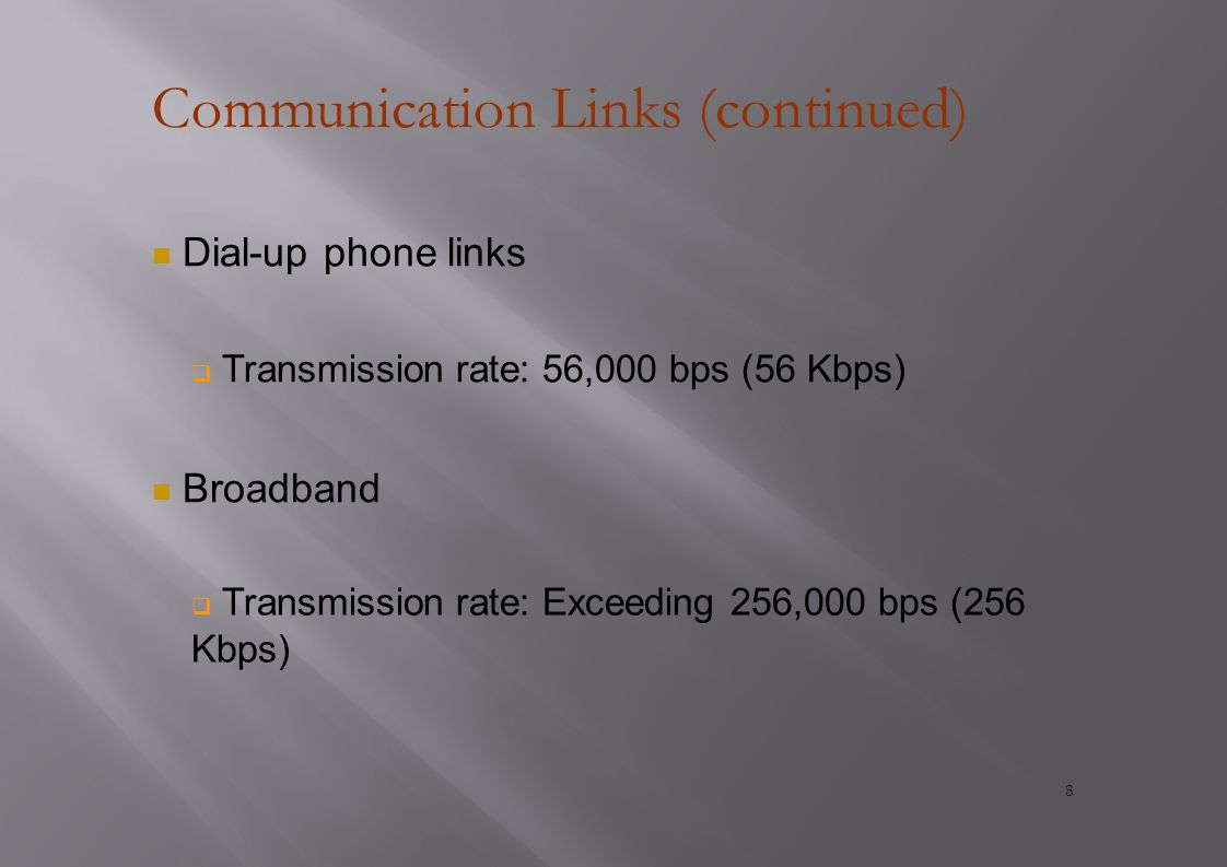 Communication Links (continued) Dial-up phone links  Transmission rate: 56,000 bps (56 Kbps) Broadband  Transmission rate: Exceeding 256,000 bps (256 Kbps) 8