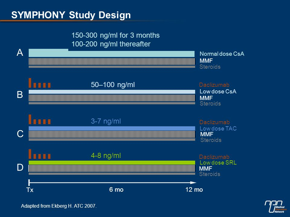 SYMPHONY: Results at 12 Months  Daclizumab Low dose CsA MMF Steroids