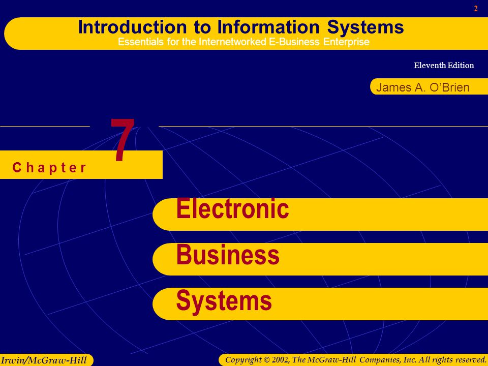 Eleventh Edition 2 Introduction to Information Systems Essentials for the Internetworked E-Business Enterprise Irwin/McGraw-Hill Copyright © 2002, The McGraw-Hill Companies, Inc.