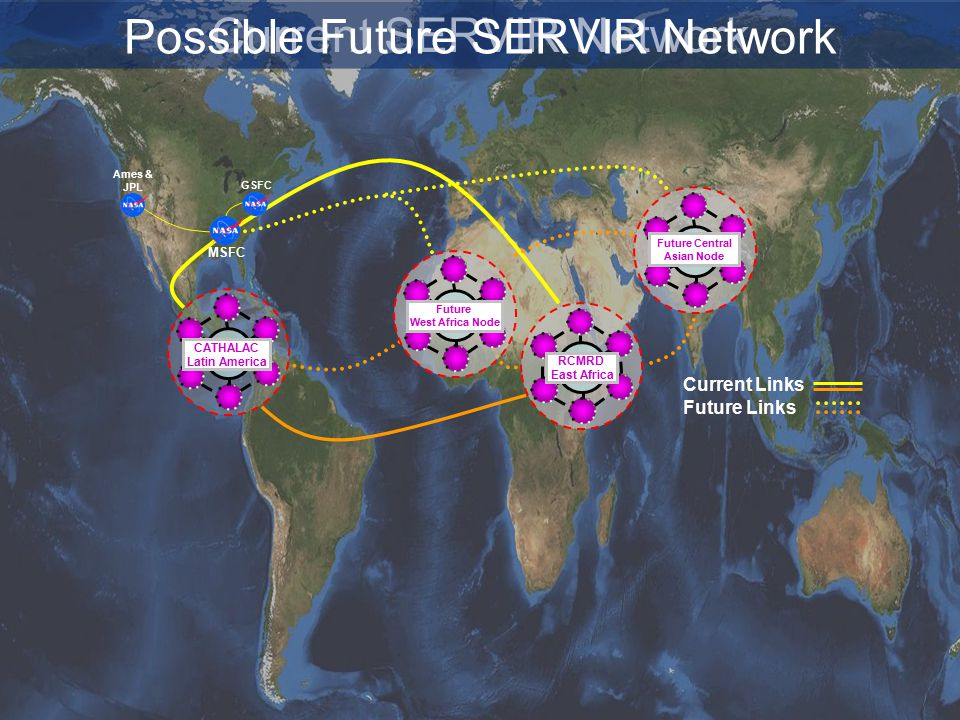 GSFC RCMRD East Africa CATHALAC Latin America Future Central Asian Node Future West Africa Node Current Links Future Links Current SERVIR Network Possible Future SERVIR Network Ames & JPL MSFC