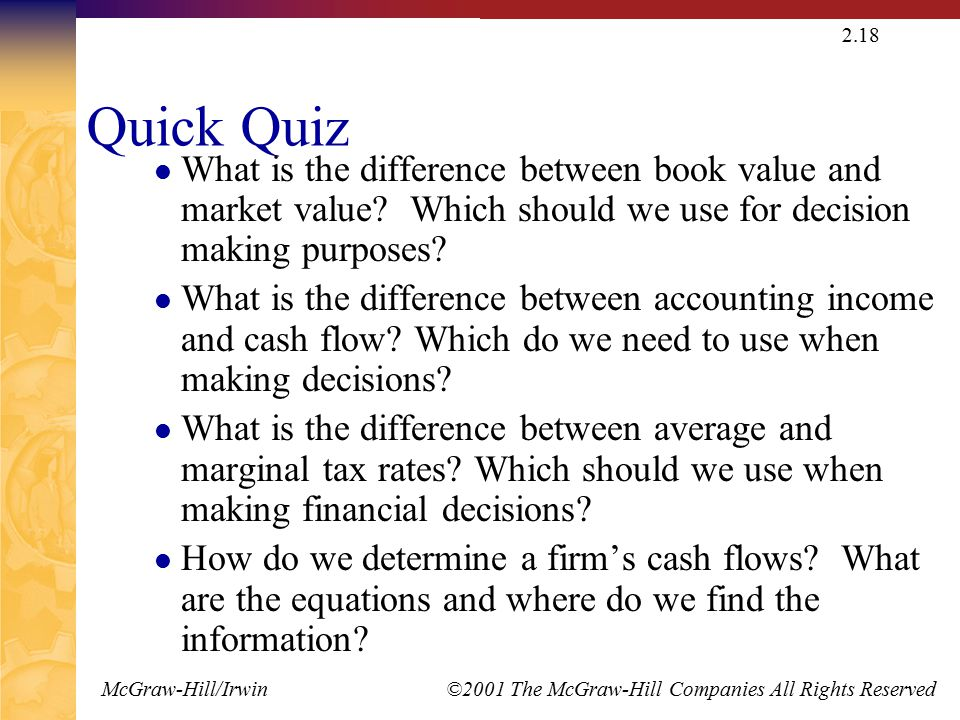 McGraw-Hill/Irwin ©2001 The McGraw-Hill Companies All Rights Reserved 2.18 Quick Quiz What is the difference between book value and market value.
