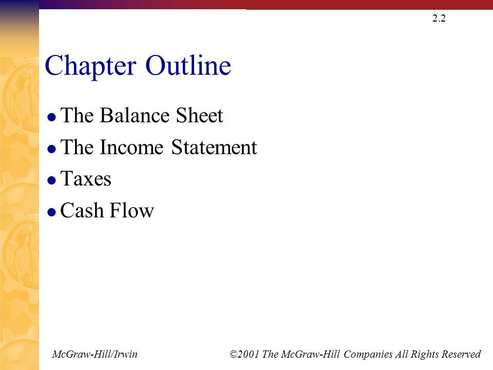 McGraw-Hill/Irwin ©2001 The McGraw-Hill Companies All Rights Reserved 2.2 Chapter Outline The Balance Sheet The Income Statement Taxes Cash Flow