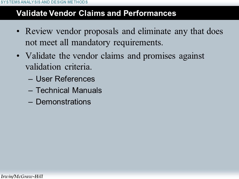 vendor analysis methods