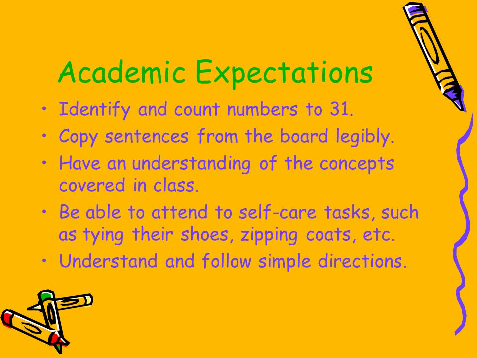 Academic Expectations Identify and count numbers to 31.