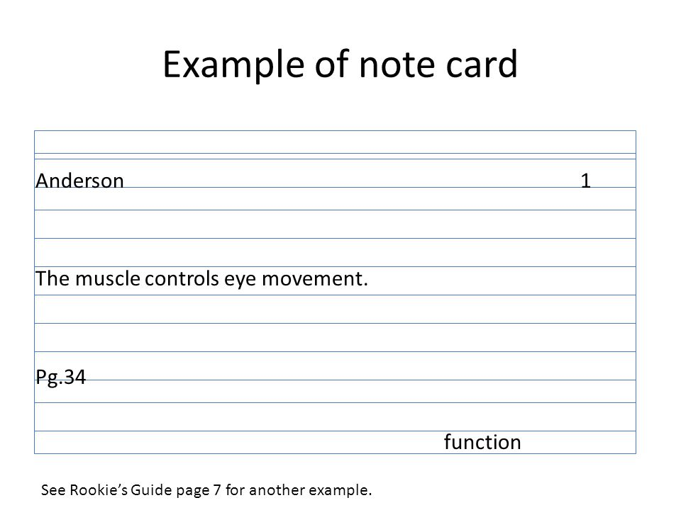 note card outline format