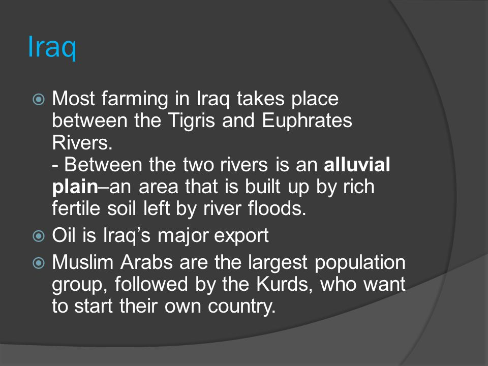 Iraq  Most farming in Iraq takes place between the Tigris and Euphrates Rivers.