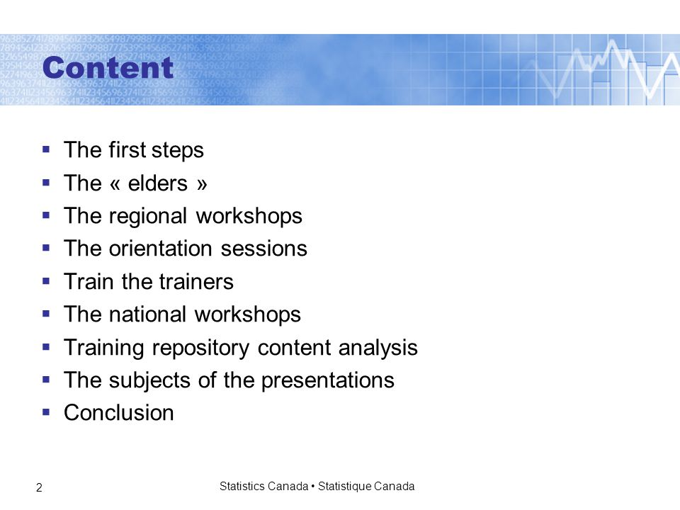 Statistics Canada Statistique Canada 2 Content  The first steps  The « elders »  The regional workshops  The orientation sessions  Train the trainers  The national workshops  Training repository content analysis  The subjects of the presentations  Conclusion