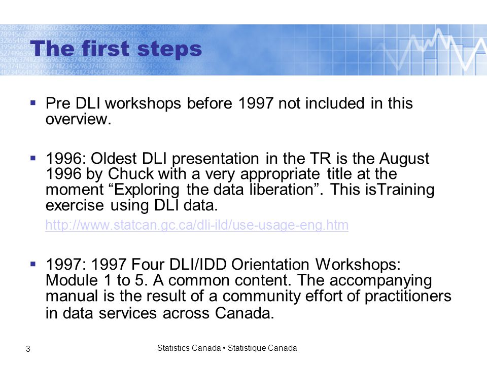 Statistics Canada Statistique Canada 3 The first steps  Pre DLI workshops before 1997 not included in this overview.