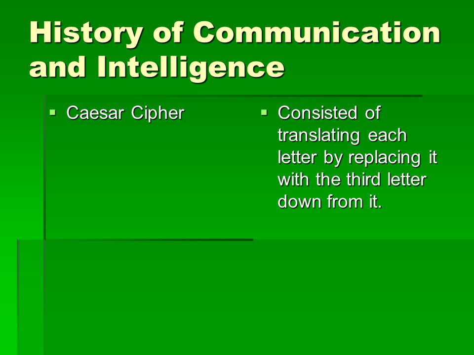 2 history of communication and intelligence caesar cipher consisted of translating each letter by replacing it with the third letter down from it
