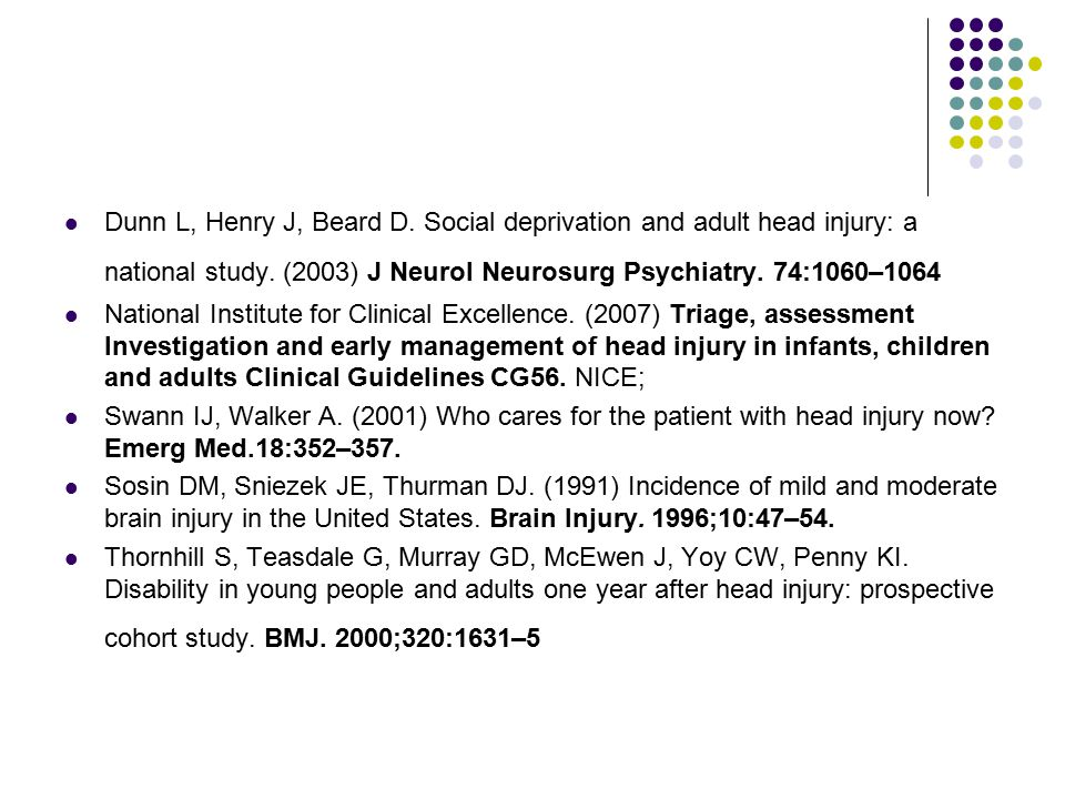 Dunn L, Henry J, Beard D. Social deprivation and adult head injury: a national study.