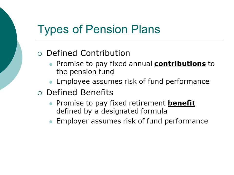 Types of Pension Plans  Defined Contribution Promise to pay fixed annual contributions to the pension fund Employee assumes risk of fund performance  Defined Benefits Promise to pay fixed retirement benefit defined by a designated formula Employer assumes risk of fund performance