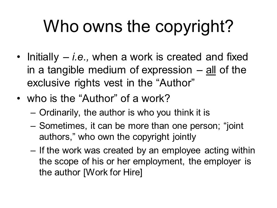 Who owns the copyright.