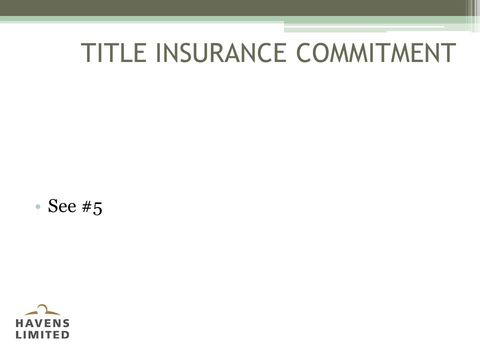 TITLE INSURANCE COMMITMENT See #5