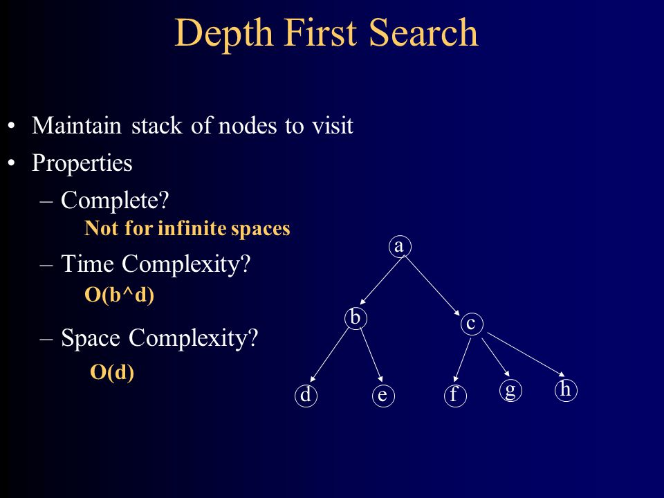 Depth First Search a b de c f gh Maintain stack of nodes to visit Properties –Complete.