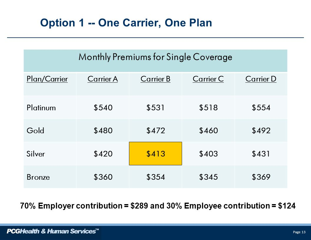 Page 13 Option 1 -- One Carrier, One Plan Monthly Premiums for Single Coverage Plan/CarrierCarrier ACarrier BCarrier CCarrier D Platinum$540$531$518$554 Gold$480$472$460$492 Silver$420$413$403$431 Bronze$360$354$345$369 70% Employer contribution = $289 and 30% Employee contribution = $124
