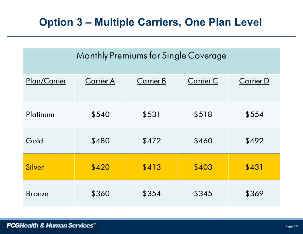 Page 16 Option 3 – Multiple Carriers, One Plan Level Monthly Premiums for Single Coverage Plan/CarrierCarrier ACarrier BCarrier CCarrier D Platinum$540$531$518$554 Gold$480$472$460$492 Silver$420$413$403$431 Bronze$360$354$345$369