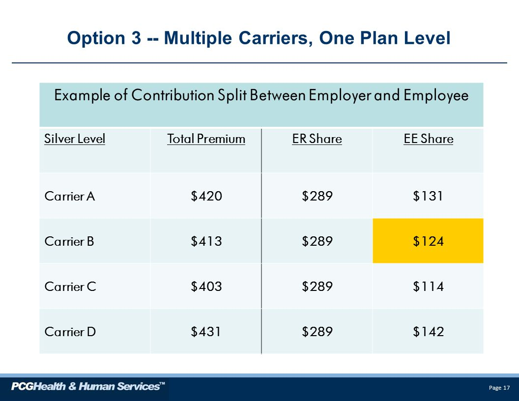 Page 17 Option 3 -- Multiple Carriers, One Plan Level Example of Contribution Split Between Employer and Employee Silver LevelTotal PremiumER ShareEE Share Carrier A$420$289$131 Carrier B$413$289$124 Carrier C$403$289$114 Carrier D$431$289$142