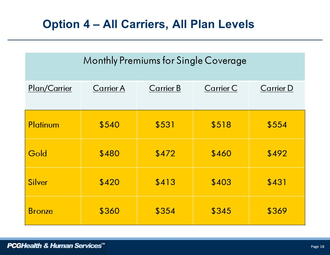 Page 18 Option 4 – All Carriers, All Plan Levels Monthly Premiums for Single Coverage Plan/CarrierCarrier ACarrier BCarrier CCarrier D Platinum$540$531$518$554 Gold$480$472$460$492 Silver$420$413$403$431 Bronze$360$354$345$369